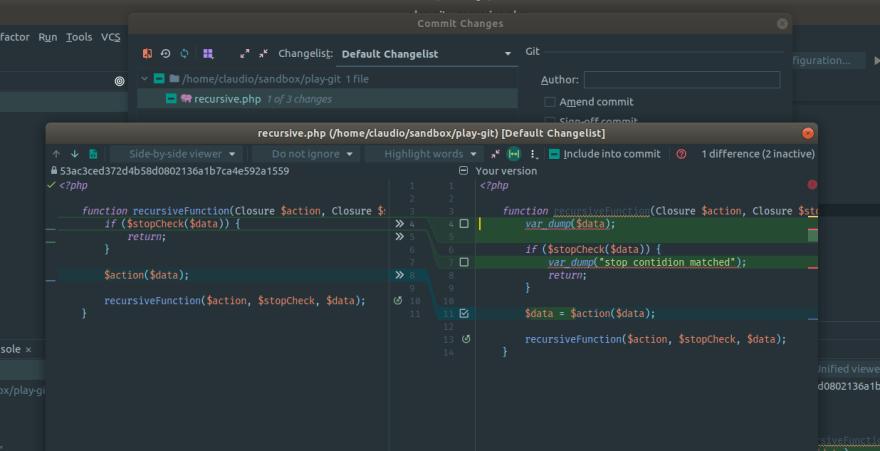 Inspeccionar commit en IDE