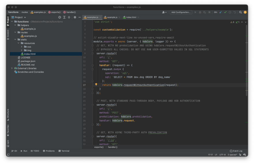 WebStorm IDE with HarperDB Functions Project