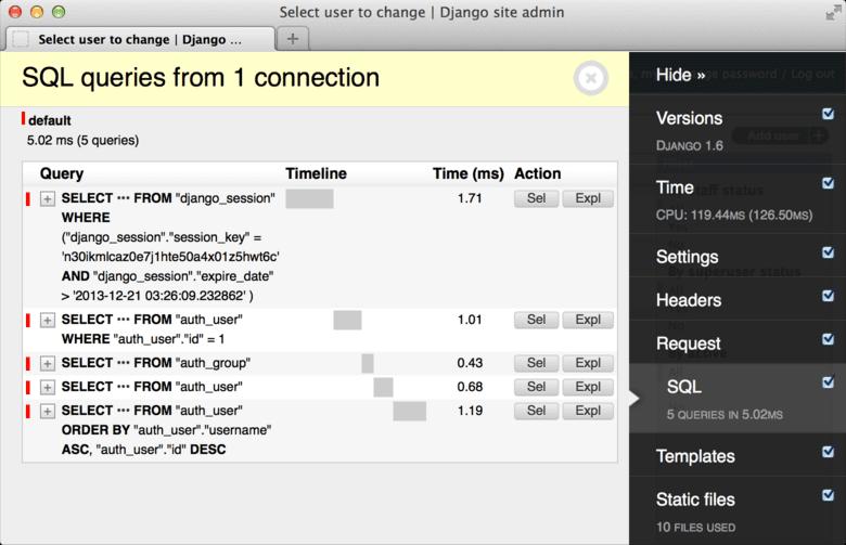 Django Debug Toolbar - Sample Screen.