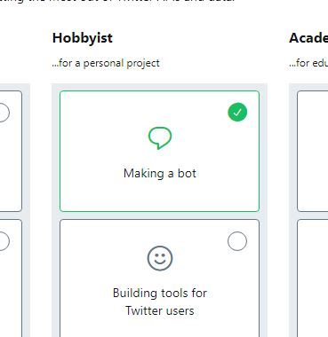 "The ""Making a bot"" option selected, showing a green check mark in the top right corner"