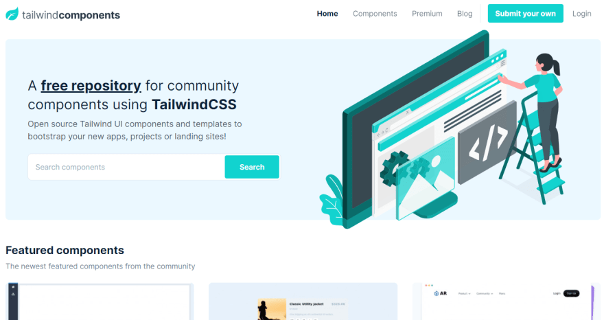 Tailwind Components landing page