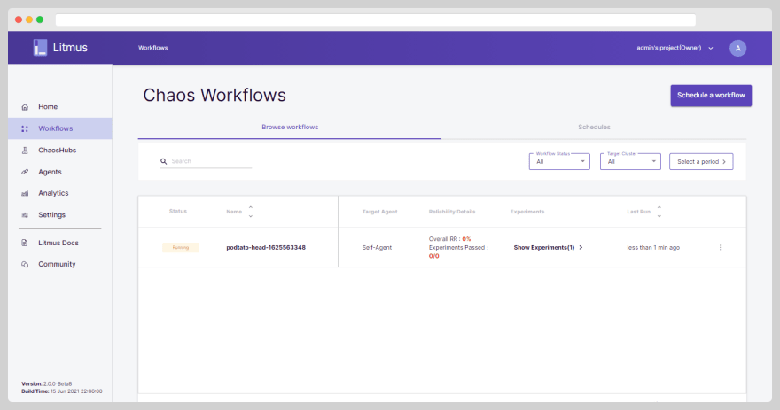 Workflow Dashboard Page