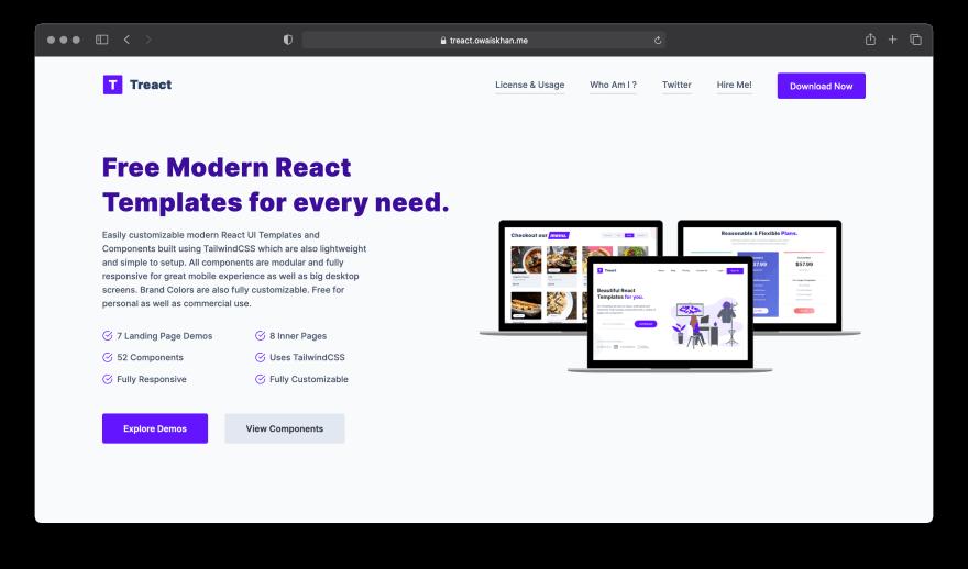 Screenshot of Treact website