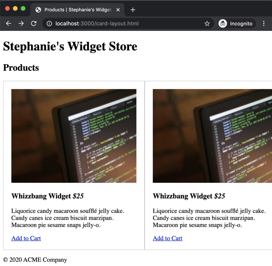 layout appearance with blank stylesheet
