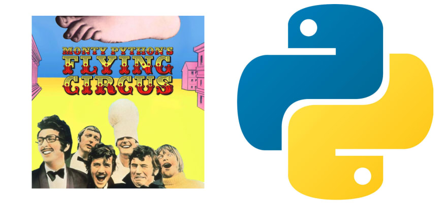 A poster from Monty Python's Flying Circus and the Python logo