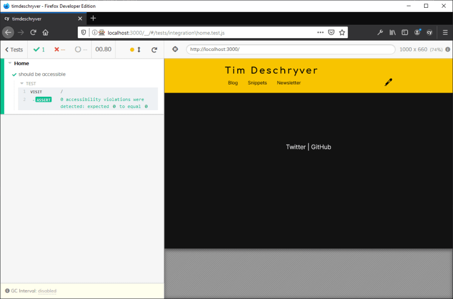 Test output for a valid page