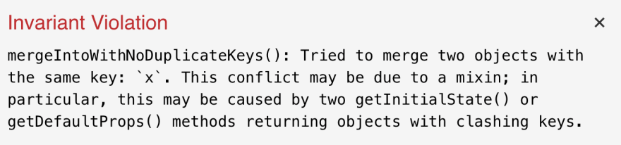 mixins key conflict error by react