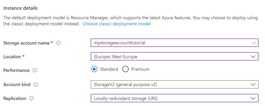 Storage Account Creation - Instance Details