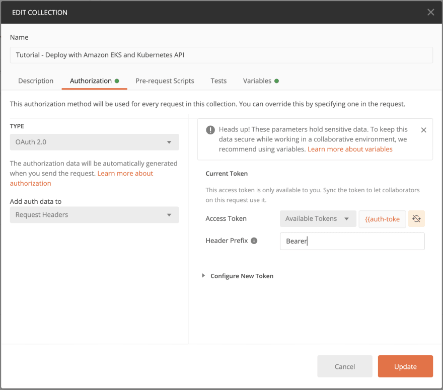 Adding authorization to a collection