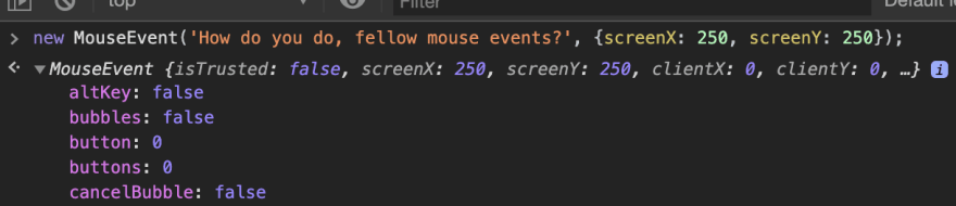 """Our """"MouseEvent"""" in the browser console"""