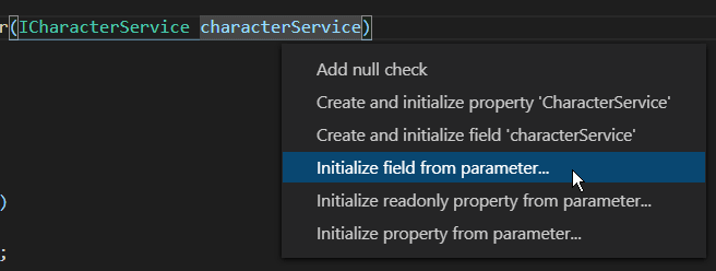 Initialize field from parameter