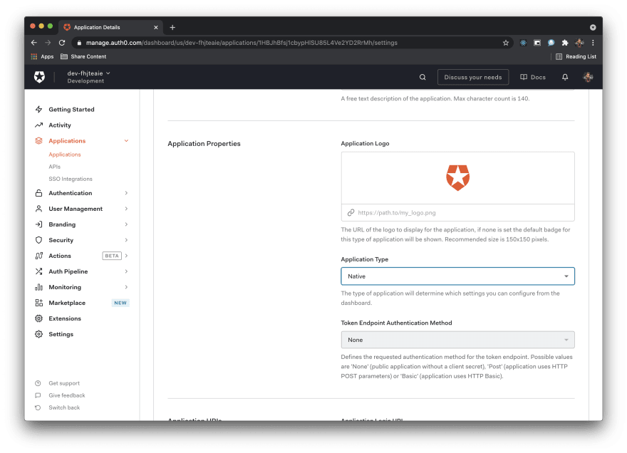 Image shows Application Type native in Auth0 dashboard