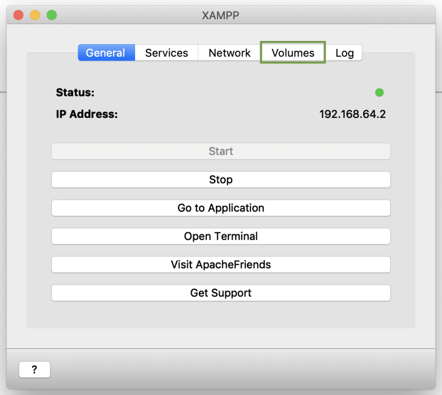 xampp general settings