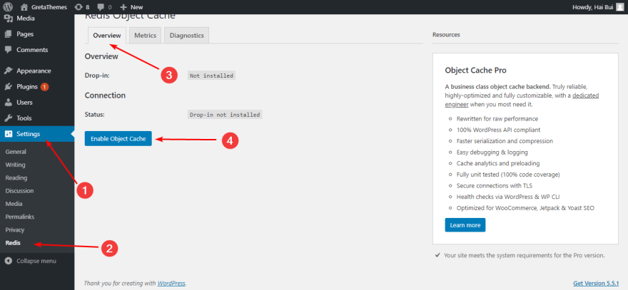 Installing Redis Caching Plugin to speed up your WordPress website