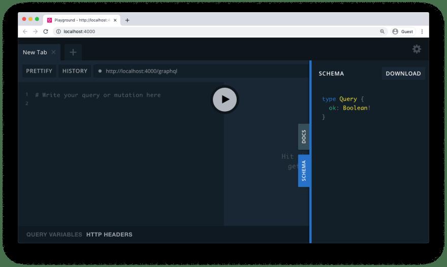GraphQL Playground with an empty schema