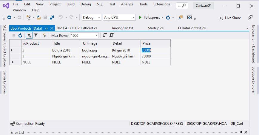 Cart in ASP.NET Core 2.1