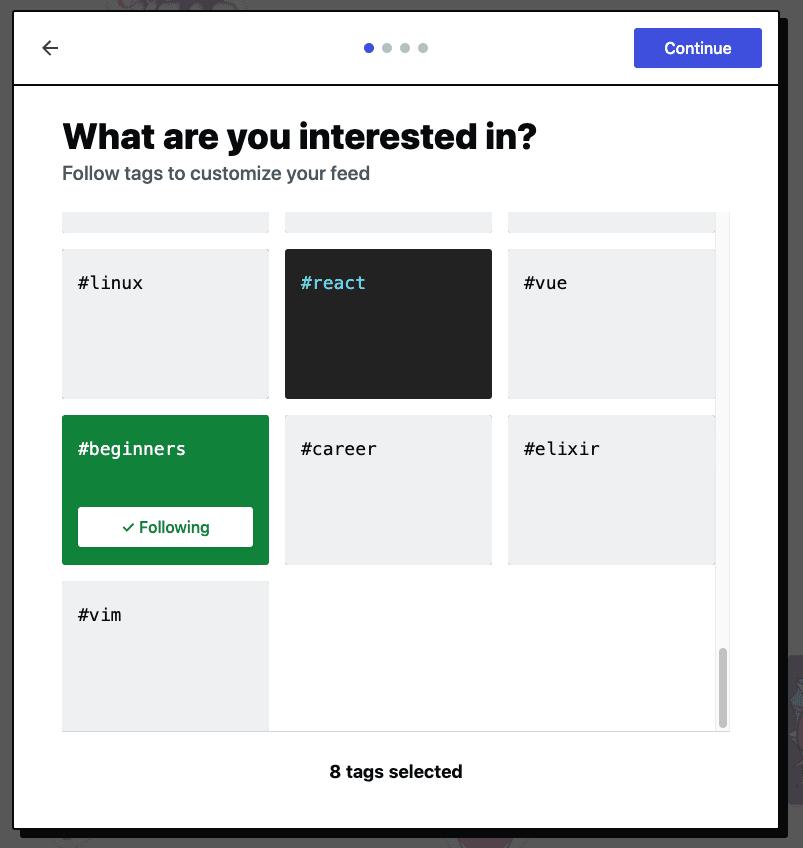 Tag following screen