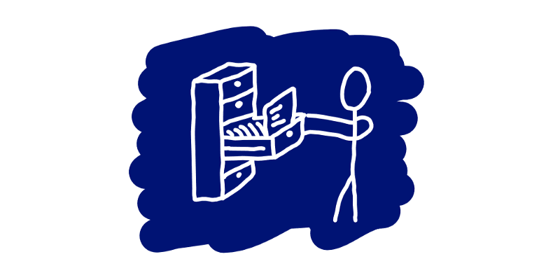 A stick figure that searches through a stuffy drawer for the right file.