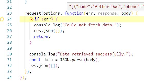 breakpoint hit in Visual Studio Code