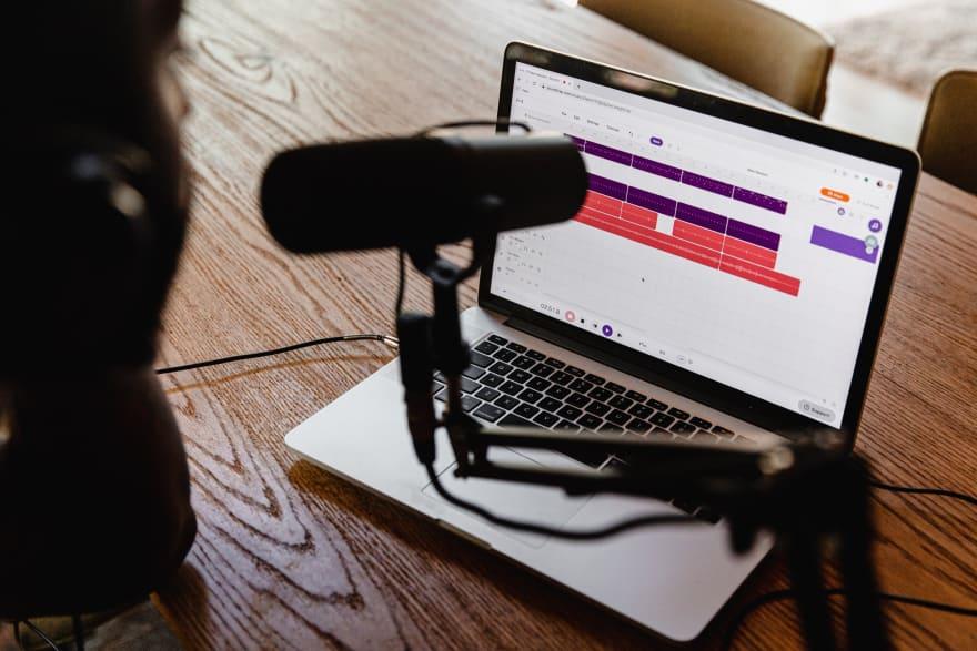Someone recording a podcast