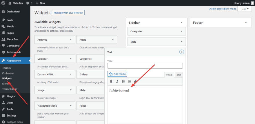 Use shortcode to add a favorite button to the sidebar of the WordPress website