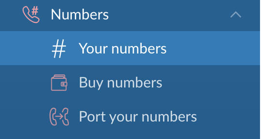 Numbers Menu Options