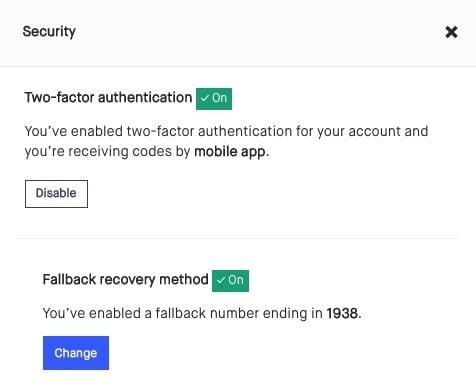 The Kickstarter security modal