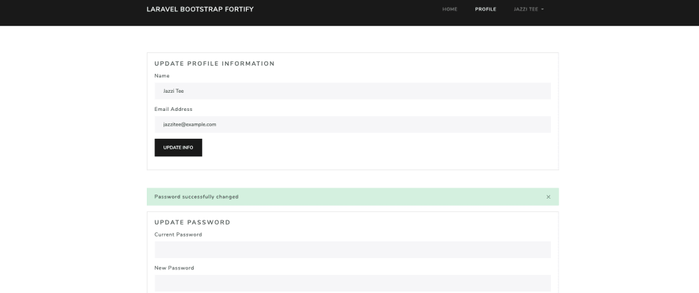 Cover image for Updating Laravel 8 User profile information using bootstrap livewire and fortify