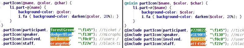 code screenshot comparing Sass to Less