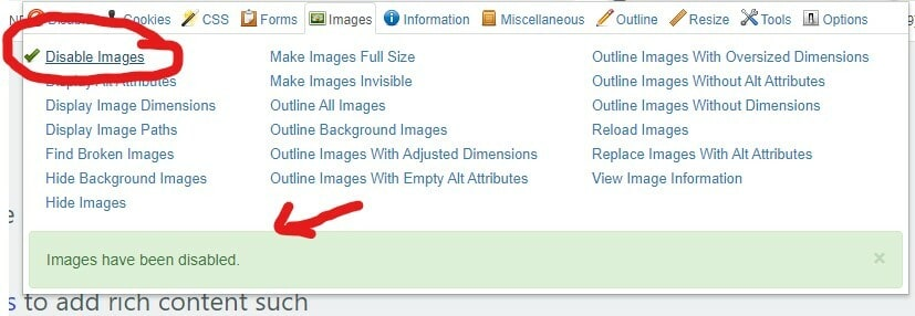 Disable Images with green tick next to it highlighted with red circle around. Arrow pointing to notification at bottom that images are disabled.