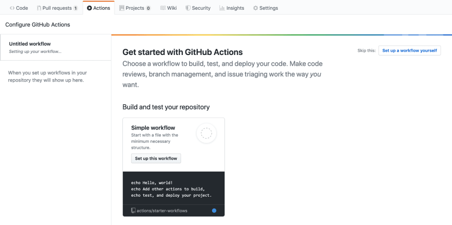 """A screenshot of the Actions tab within a new GitHub repository. Displayed is """"Get started with GitHub Actions"""", beneath which is the option to set up a simple starter workflow."""