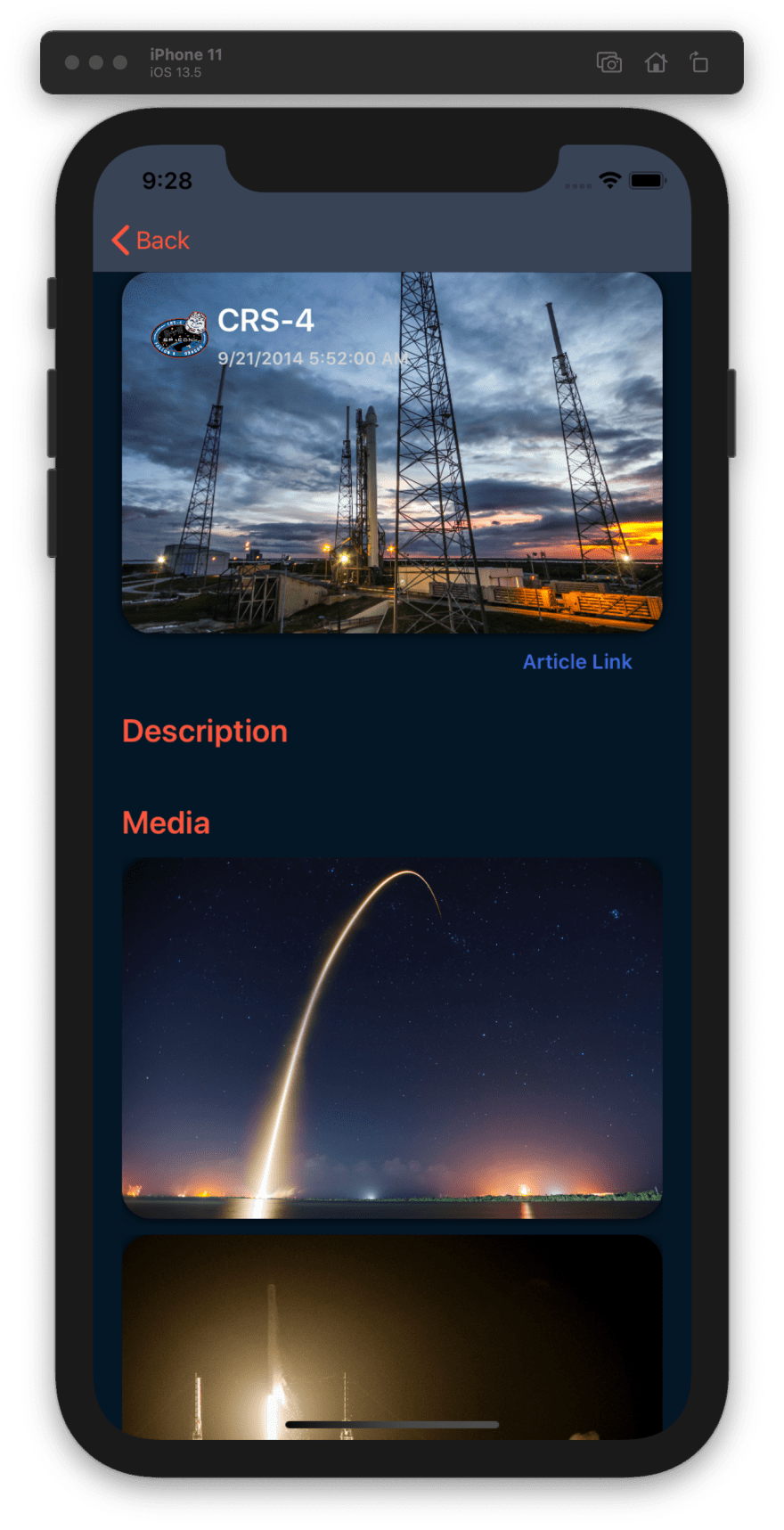 Launch details