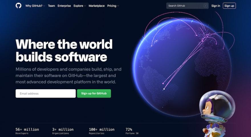 Github website homepage