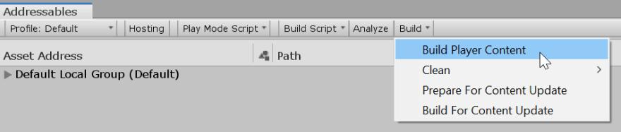 Addressables - Build Player Content
