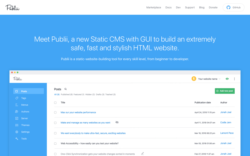 Hands on with Publii, a Free Static CMS Generating HTML Sites