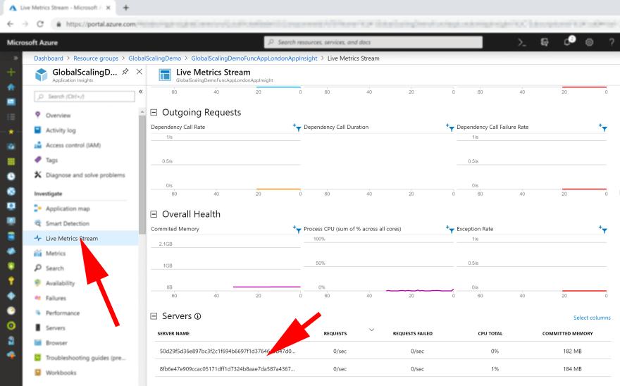 image showing how azure function app live metrics