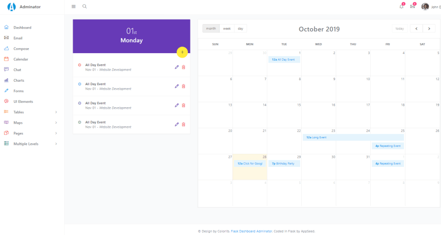Flask Dashboard Adminator - Open-Source Admin Panel, the Calendar page.