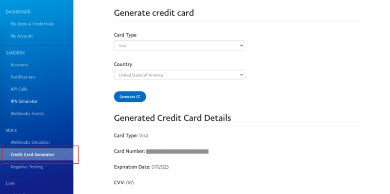 Generate a new sandbox credit card for PayPal payments