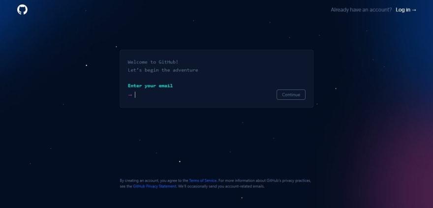 Página do GitHub para fazer o cadastro de uma nova conta