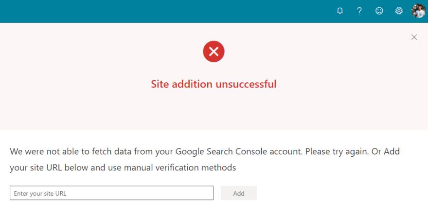 Bing Webmaster Tools - import error message