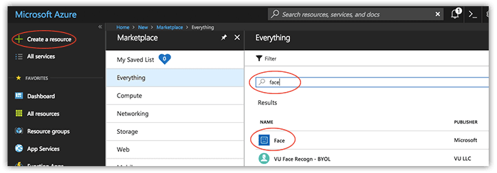 search for azure face api