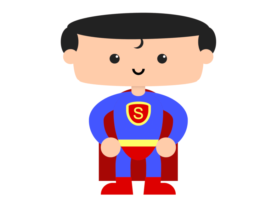 Cartoon of a superman-looking superhero with tights, a cape, and a big logo with an S