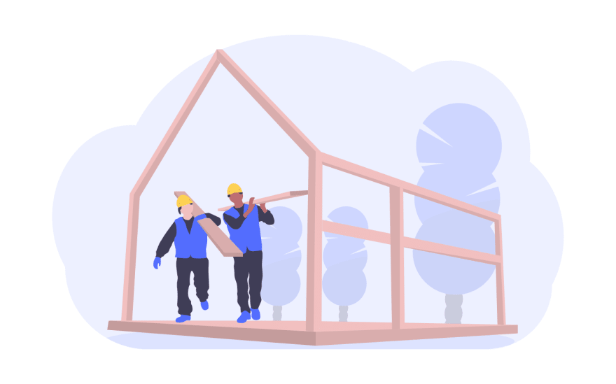 Two men building a house
