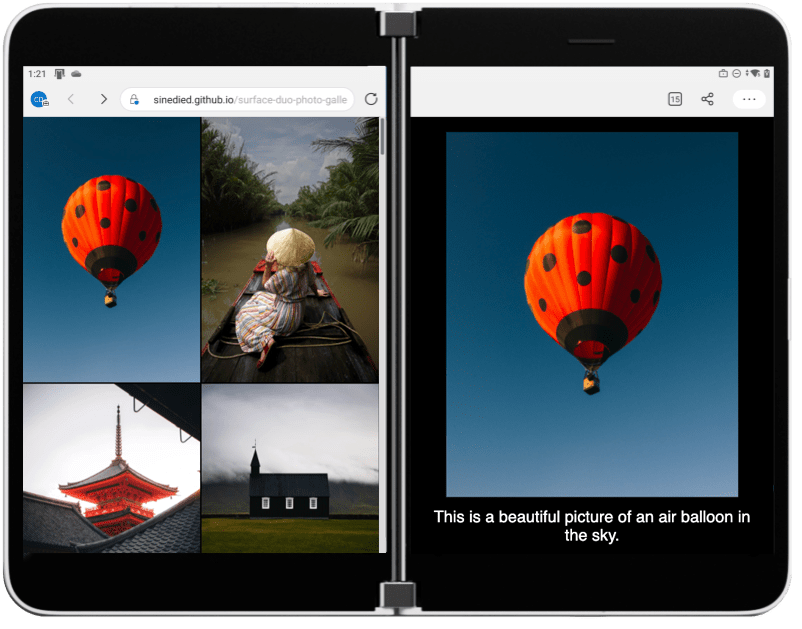Screenshot of the final photo gallery app
