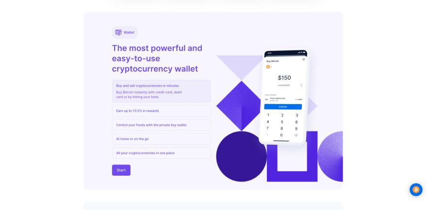 Blockchain website section