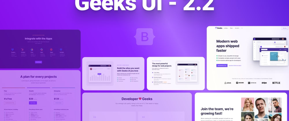 Cover image for Geeks UI 2.2.0 — Start designing websites with Bootstrap 5 Theme