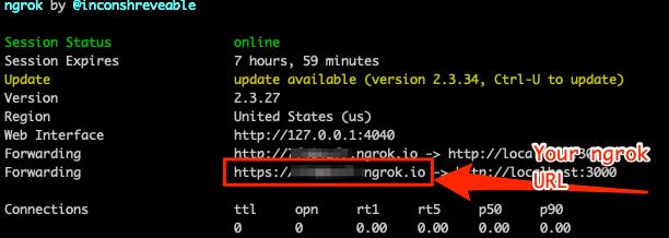 Screenshot of ngrok