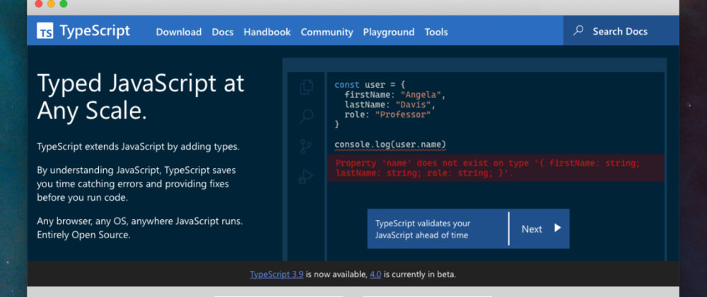Cover image for Announcing the new TypeScript Website