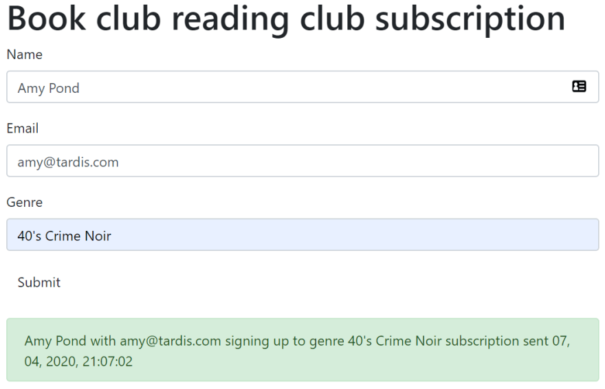 Book club sign up